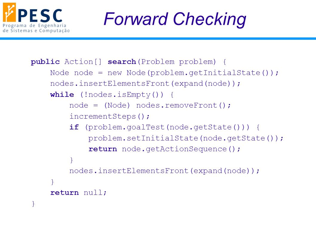 Forward Checking public Action[] search(Problem problem) {